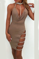 Halter  Backless  Hollow Out Plain  Sleeveless Bodycon Dresses