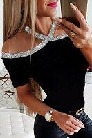 Sexy Sequined Off Shoulder Halter Solid Color Short Sleeve T-Shirt