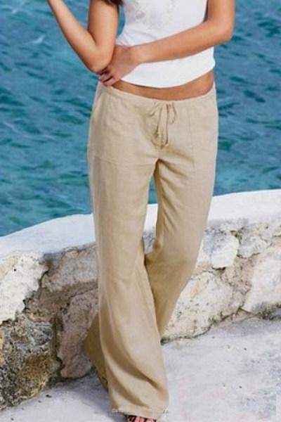 Summer  Casual  Belt  Loops   Plain  Pants