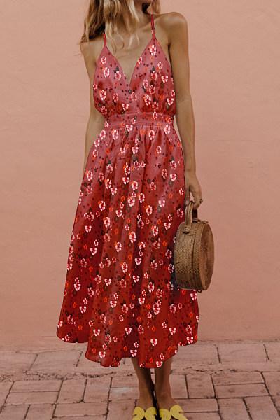 Spaghetti Strap  Backless  Print  Sleeveless Maxi Dresses