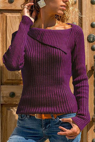 Asymmetric Neck  Plain Sweaters
