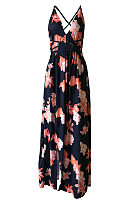 Deep V Neck  Backless Slit  Belt Loops  Printed  Sleeveless Maxi Dresses