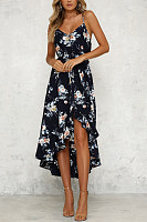 Spaghetti Strap  Asymmetric Hem  Cascading Ruffles  Floral Printed  Sleeveless Maxi Dresses