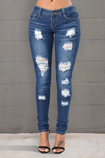 Women's Commuting High-Waist Broken Hole Whiskered Tight Jeans