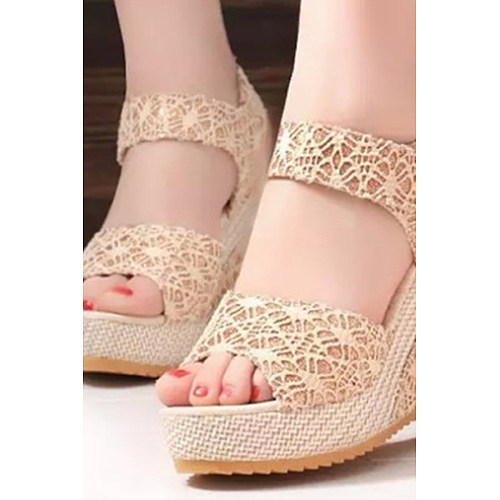 0c66950b2558 Lace High Heeled Lace Ankle Strap Peep Toe Casual Date Wedges ...