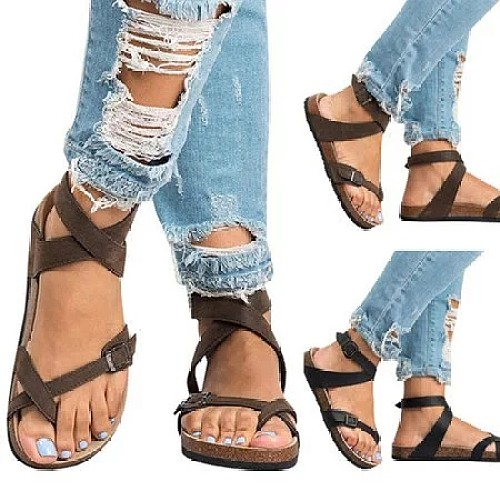 4a964d86657cd Ankle Strap Buckle Flip Flop Gladiator Thong Flat Sandals ...