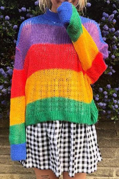 Round  Neck  Striped  Basic Sweaters