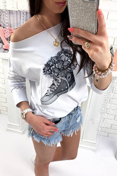 Open Shoulder  Loose Fitting  Printed T-Shirts
