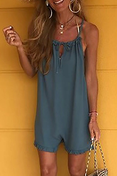 Casual Pure Colour Sling Playsuits