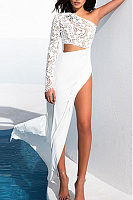 One Shoulder  High Slit  Hollow Out Plain Maxi Dresses