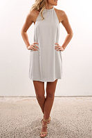 Halter  Backless  Plain  Sleeveless Casual Dresses