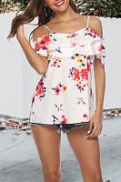 Spaghetti Strap  Flounce  Floral Printed T-Shirts