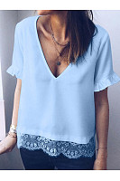 V Neck Short Sleeve Lace Patchwork T-Shirts