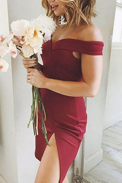 Open Shoulder  Side Slit  Plain Bodycon Dresses