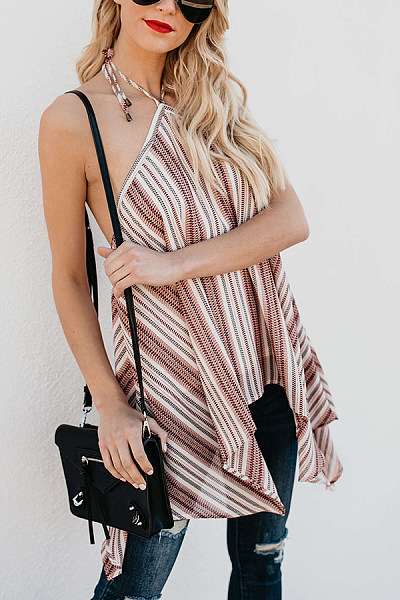 Halter  Backless  Stripes Casual  Blouses