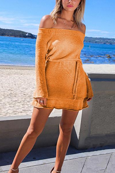 Off Shoulder  Belt Loops  Plain  Long Sleeve Bodycon Dresses