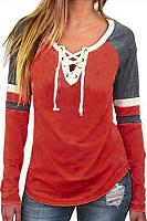 V Neck  Drawstring Patchwork  Plain T-Shirts