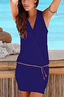 Surplice  Belt  Plain Bodycon Dresses