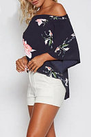 Off Shoulder  Floral Printed  Bell Sleeve  Blouses