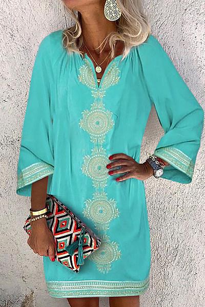 Fashion V-Neck Ethnic Print Casual Dress