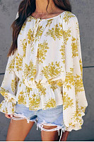 Sexy Printed Colour Long Sleeve Loose Blouse