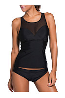 Round Neck  Racerback  Hollow Out Solid Tankini In Black