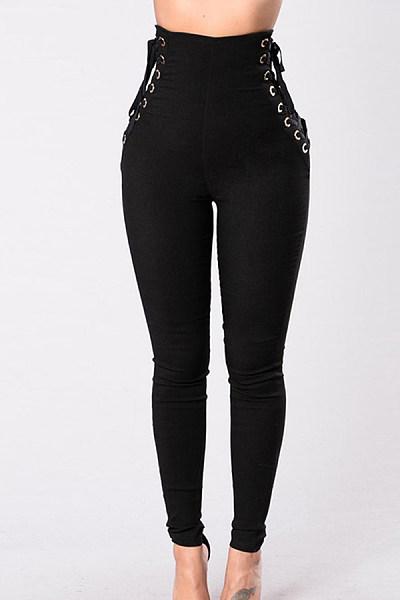 Drawstring  Plain  Basic Pants