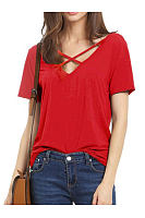 Summer  Polyester  Women  Surplice  Plain Short Sleeve T-Shirts