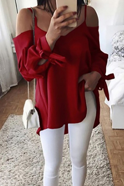 Spaghetti Strap  Loose Fitting  Plain  Blouses