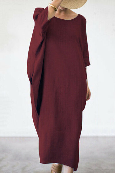 Brief Pure Color Round Neck Maxi Dresses