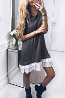 Round Neck  Flounce  Patchwork Casual Dresses