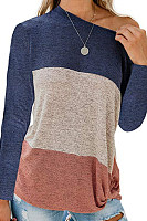 Casual Round Collar Color Block T-Shirts