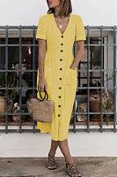 V Neck  Plain  Short Sleeve Maxi Dresses