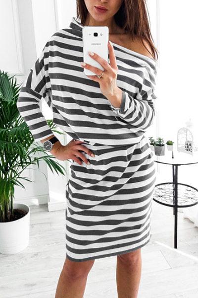 Open Shoulder  Belt  Long Sleeve Casual Dresses