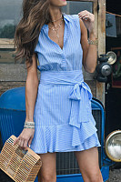 Button Down Collar  Belt  Striped  Sleeveless Bodycon Dresses