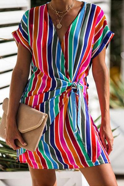 Fashion Overlay V-Neck Rainbow Stripe Short Sleeve Mini Dress