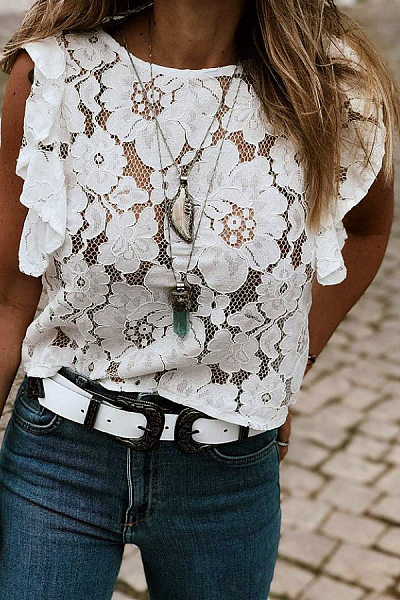 Casual Round Neck Solid Color Lace Ruffled Sleeveless T-Shirt