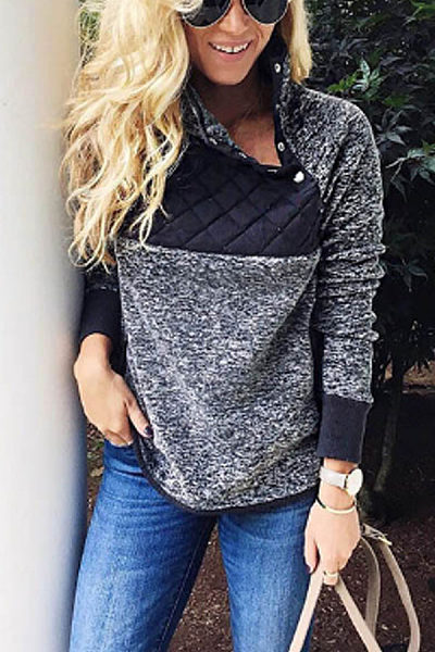 Single Breasted  Patchwork Casual Sweatshirts