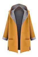 Hooded Patch Pocket Woolen Color Block Coat