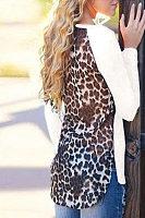 Round Neck  Asymmetric Hem  Leopard T-Shirts