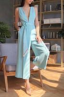 Sexy Deep V Sleeveless Slim Wide Legs Jumpsuits