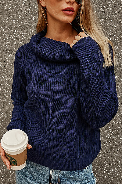 Cowl Neck  Exposed Navel  Plain Sweaters