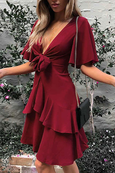 Sexy Plain Short Sleeves Stitching Mini Dress