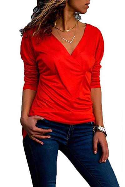 948a8e6b40953e Brief V Neck Long Sleeve Plain Casual T-Shirts - cicilookshop.com