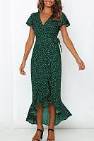 V-Neck Floral Print Short Sleeves Maxi Dress