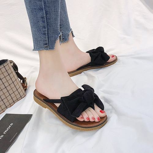 Women Summer Casual Bowknot Slide Flat Loafer Shoes