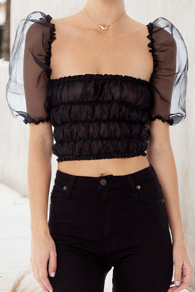 Asymmetric Neck  Ruched  Plain  Puff Sleeve  Blouses