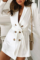 Fold Over Collar  Double Breasted  Belt  Plain Trench Coat