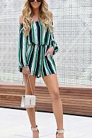Off Shoulder  Stripes  Long Sleeve  Playsuits