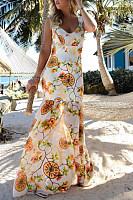Deep V Neck  Floral Printed  Sleeveless Maxi Dresses